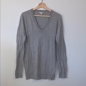 Grey Cotton/Silk Blend V Neck Sweater